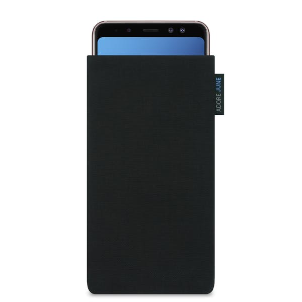 The picture shows the front of Classic Sleeve for Samsung Galaxy A8 Plus 2018 in color Black; As an illustration, it also shows what the compatible device looks like in this bag