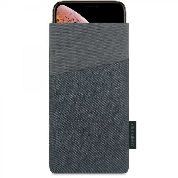 The picture shows the front of Clive Sleeve for Apple iPhone X and iPhone XS in color Black / Grey; As an illustration, it also shows what the compatible device looks like in this bag