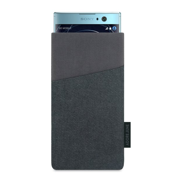 The picture shows the front of Clive Sleeve for Sony Xperia XA2 in color Black / Grey; As an illustration, it also shows what the compatible device looks like in this bag