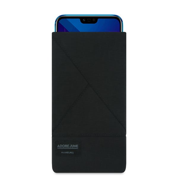 The picture shows the front of Triangle Sleeve for Honor 10 in color Black; As an illustration, it also shows what the compatible device looks like in this bag