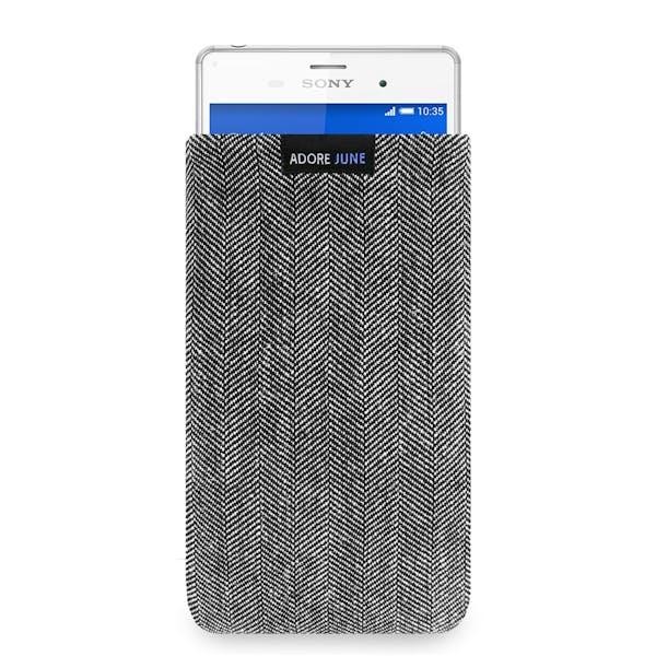 Das Bild zeigt die Vorderseite von Business Tasche für Sony Xperia Z3 in Farbe Grau / Schwarz; Zur Veranschaulichung wird ebenfalls dargestellt, wie das kompatible Gerät in dieser Tasche aussieht