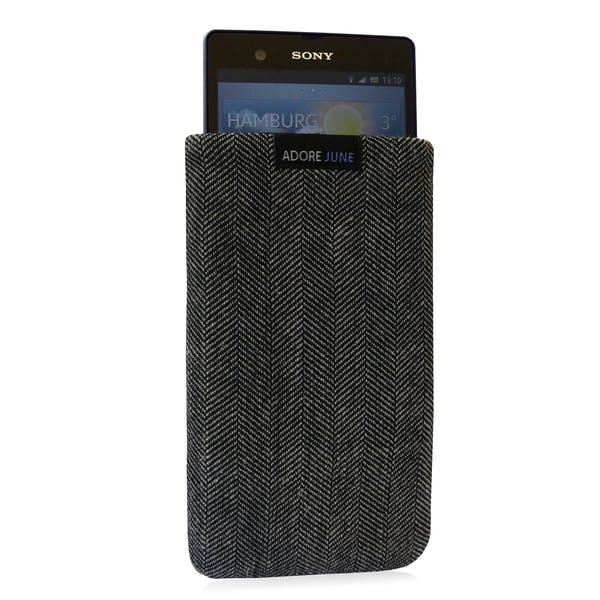 The picture shows the front of Business Sleeve for Sony Xperia Z in color Grey / Black; As an illustration, it also shows what the compatible device looks like in this bag