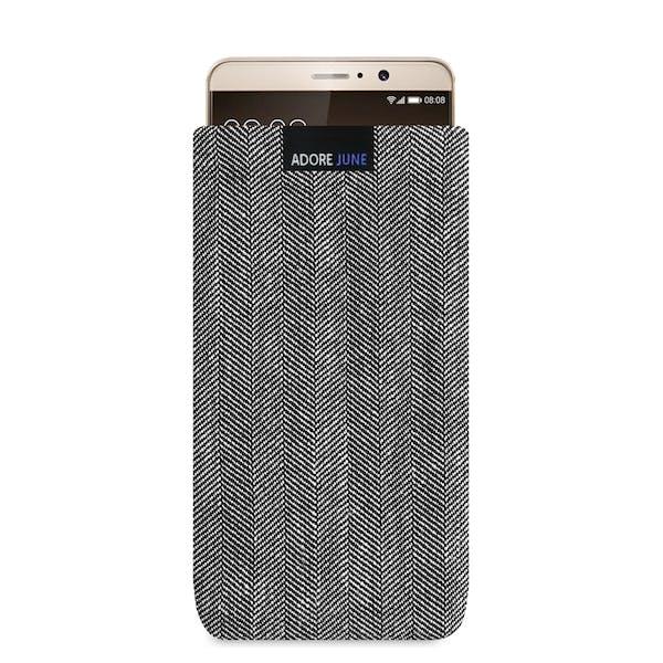 Das Bild zeigt die Vorderseite von Business Tasche für Huawei Mate 9 in Farbe Grau / Schwarz; Zur Veranschaulichung wird ebenfalls dargestellt, wie das kompatible Gerät in dieser Tasche aussieht