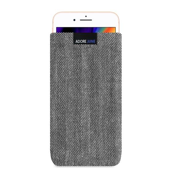 Das Bild zeigt die Vorderseite von Business Tasche für Apple iPhone 8 Plus in Farbe Grau / Schwarz; Zur Veranschaulichung wird ebenfalls dargestellt, wie das kompatible Gerät in dieser Tasche aussieht