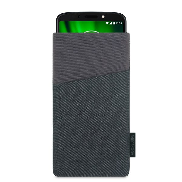 The picture shows the front of Clive Sleeve for Motorola Moto G6 Play in color black / grey; As an illustration, it also shows what the compatible device looks like in this bag