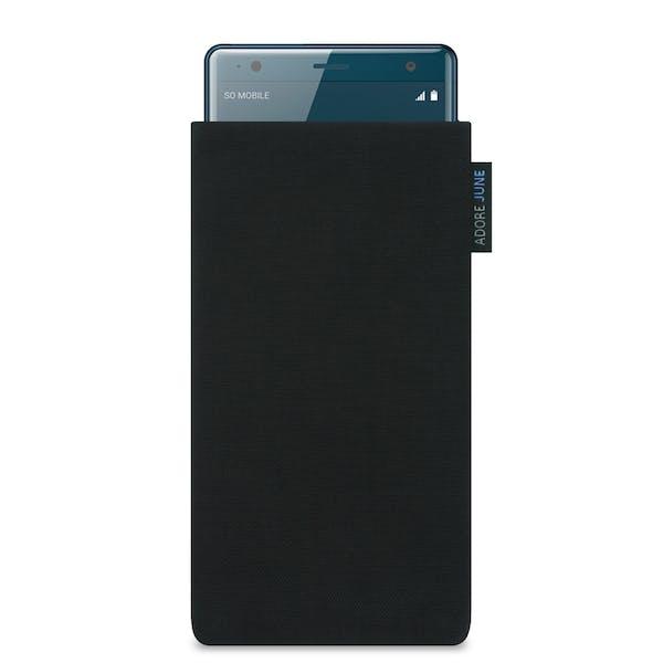 Das Bild zeigt die Vorderseite von Classic Tasche für Sony Xperia XZ2 in Farbe Schwarz; Zur Veranschaulichung wird ebenfalls dargestellt, wie das kompatible Gerät in dieser Tasche aussieht