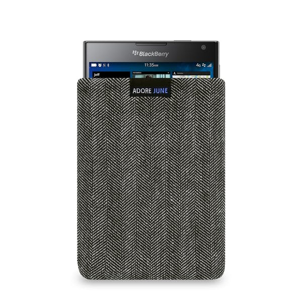 The picture shows the front of Business Sleeve for BlackBerry Passport in color Grey / Black; As an illustration, it also shows what the compatible device looks like in this bag