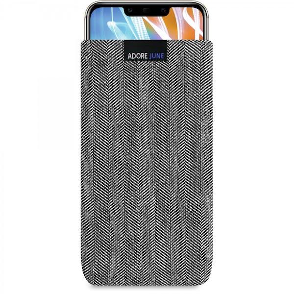 Das Bild zeigt die Vorderseite von Business Tasche für Huawei Mate 20 LITE in Farbe Grau / Schwarz; Zur Veranschaulichung wird ebenfalls dargestellt, wie das kompatible Gerät in dieser Tasche aussieht