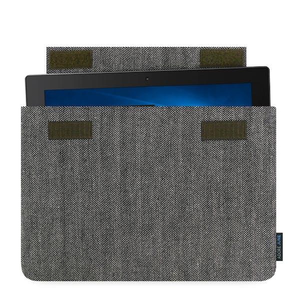 Das Bild zeigt die Vorderseite von Business Hülle für Lenovo Yoga Book in Farbe Grau / Schwarz; Zur Veranschaulichung wird ebenfalls dargestellt, wie das kompatible Gerät in dieser Tasche aussieht