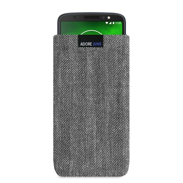 The picture shows the front of Business Sleeve for Motorola Moto G6 Plus in color Grey / Black; As an illustration, it also shows what the compatible device looks like in this bag