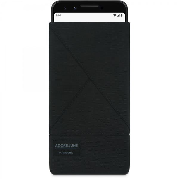The picture shows the front of Triangle Sleeve for Google Pixel 3 in color Black; As an illustration, it also shows what the compatible device looks like in this bag