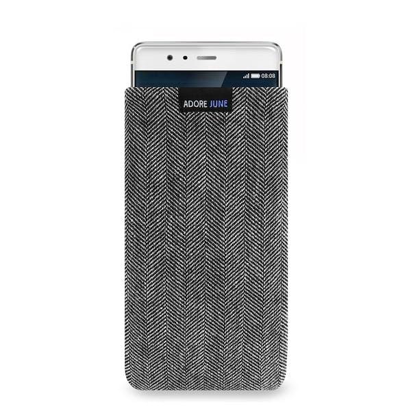 Das Bild zeigt die Vorderseite von Business Tasche für Huawei P9 in Farbe Grau / Schwarz; Zur Veranschaulichung wird ebenfalls dargestellt, wie das kompatible Gerät in dieser Tasche aussieht