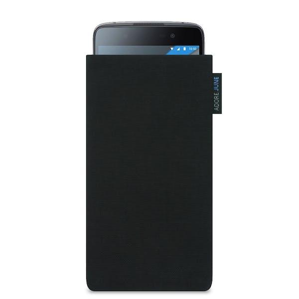 Das Bild zeigt die Vorderseite von Classic Tasche für BlackBerry DTEK50 in Farbe Schwarz; Zur Veranschaulichung wird ebenfalls dargestellt, wie das kompatible Gerät in dieser Tasche aussieht