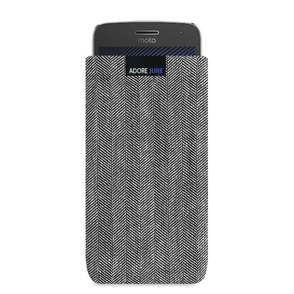 Das Bild zeigt die Vorderseite von Business Tasche für Motorola Moto G5 Plus in Farbe Grau / Schwarz; Zur Veranschaulichung wird ebenfalls dargestellt, wie das kompatible Gerät in dieser Tasche aussieht