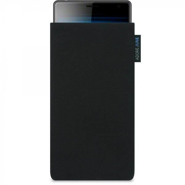 The picture shows the front of Classic Sleeve for Sony Xperia 10 in color Black; As an illustration, it also shows what the compatible device looks like in this bag