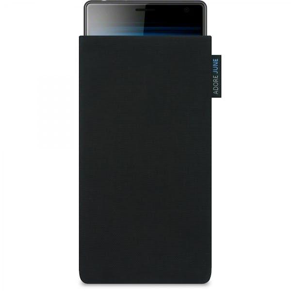 Das Bild zeigt die Vorderseite von Classic Tasche für Sony Xperia 10 in Farbe Schwarz; Zur Veranschaulichung wird ebenfalls dargestellt, wie das kompatible Gerät in dieser Tasche aussieht