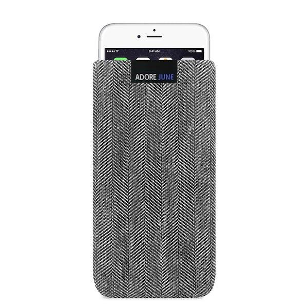 Das Bild zeigt die Vorderseite von Business Tasche für Apple iPhone 6 6S und iPhone 7 in Farbe Grau / Schwarz; Zur Veranschaulichung wird ebenfalls dargestellt, wie das kompatible Gerät in dieser Tasche aussieht
