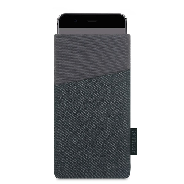 The picture shows the front of Clive Sleeve for Huawei P10 in color Grey / Black; As an illustration, it also shows what the compatible device looks like in this bag