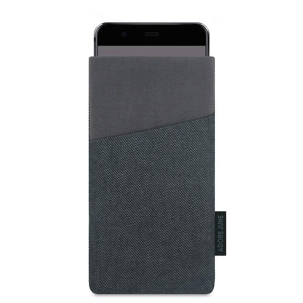 Das Bild zeigt die Vorderseite von Clive Tasche für Huawei P10 in Farbe Grau / Schwarz; Zur Veranschaulichung wird ebenfalls dargestellt, wie das kompatible Gerät in dieser Tasche aussieht