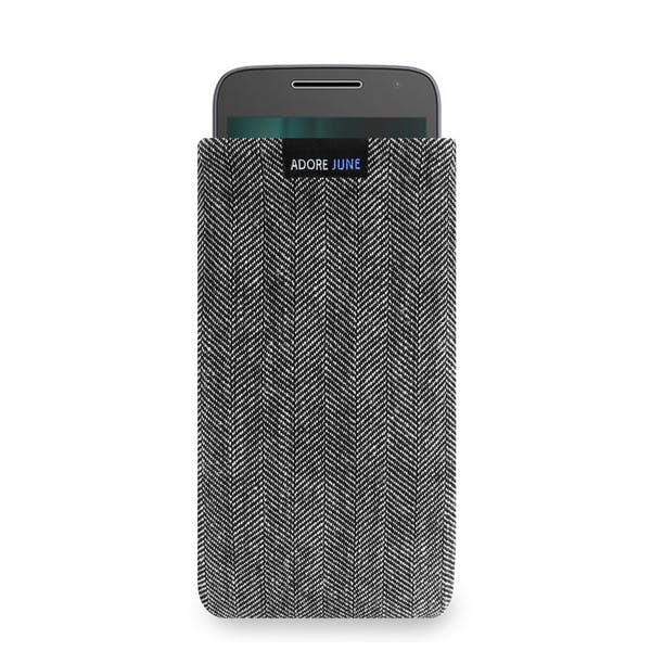 Das Bild zeigt die Vorderseite von Business Tasche für Motorola Moto G5 und Moto G4 Play in Farbe Grau / Schwarz; Zur Veranschaulichung wird ebenfalls dargestellt, wie das kompatible Gerät in dieser Tasche aussieht