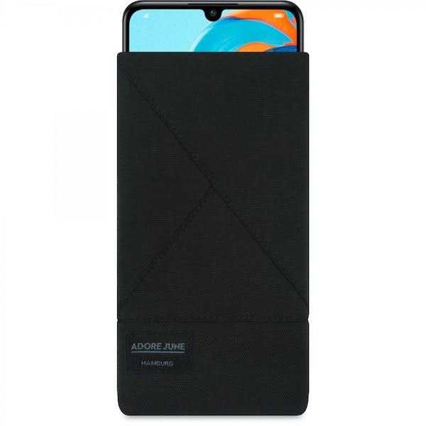 Das Bild zeigt die Vorderseite von Triangle Tasche für Huawei P30 Lite in Farbe Schwarz; Zur Veranschaulichung wird ebenfalls dargestellt, wie das kompatible Gerät in dieser Tasche aussieht