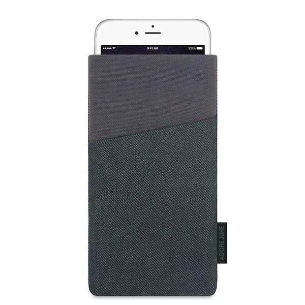 Das Bild zeigt die Vorderseite von Clive Tasche für Apple iPhone 6 Plus 6S Plus und iPhone 7 Plus in Farbe Schwarz / Grau; Zur Veranschaulichung wird ebenfalls dargestellt, wie das kompatible Gerät in dieser Tasche aussieht