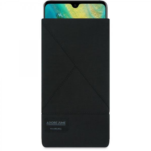 Das Bild zeigt die Vorderseite von Triangle Tasche für Huawei Mate 20 in Farbe Schwarz; Zur Veranschaulichung wird ebenfalls dargestellt, wie das kompatible Gerät in dieser Tasche aussieht