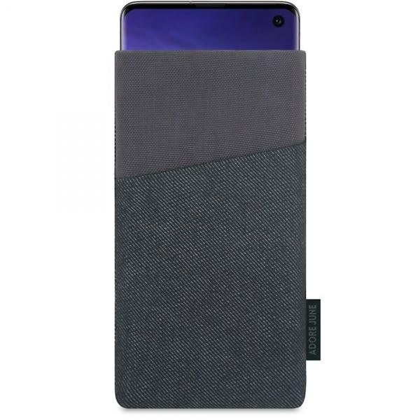 Das Bild zeigt die Vorderseite von Clive Tasche für Samsung Galaxy S10 in Farbe Schwarz / Grau; Zur Veranschaulichung wird ebenfalls dargestellt, wie das kompatible Gerät in dieser Tasche aussieht