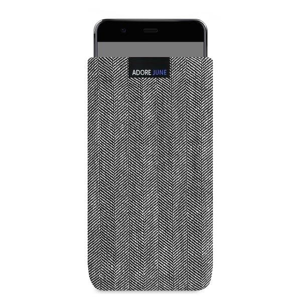 Das Bild zeigt die Vorderseite von Business Tasche für Huawei P10 Plus in Farbe Grau / Schwarz; Zur Veranschaulichung wird ebenfalls dargestellt, wie das kompatible Gerät in dieser Tasche aussieht