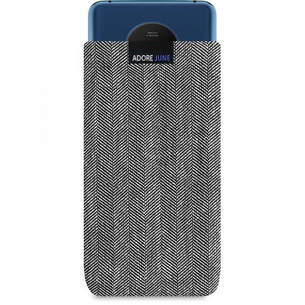 Das Bild zeigt die Vorderseite von Business Tasche für OnePlus 7T in Farbe Grau / Schwarz; Zur Veranschaulichung wird ebenfalls dargestellt, wie das kompatible Gerät in dieser Tasche aussieht
