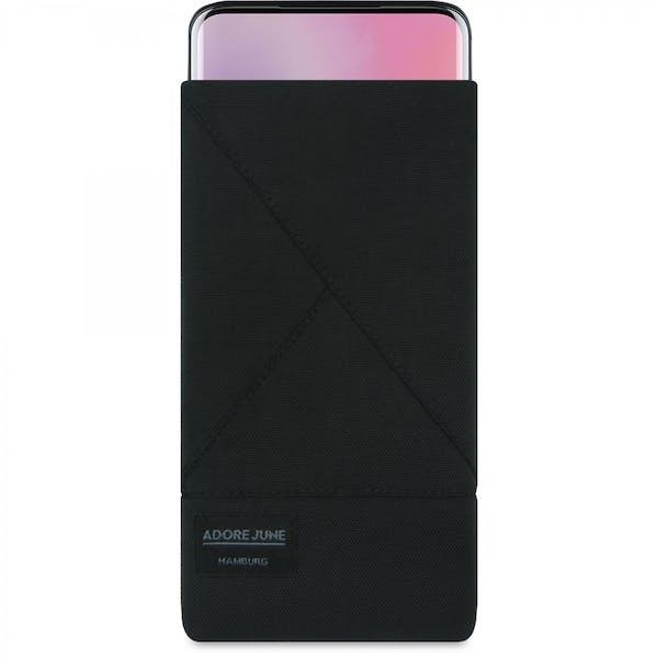 Das Bild zeigt die Vorderseite von Triangle Tasche für OnePlus 7 Pro und OnePlus 7T Pro in Farbe Schwarz; Zur Veranschaulichung wird ebenfalls dargestellt, wie das kompatible Gerät in dieser Tasche aussieht