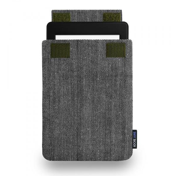 Das Bild zeigt die Vorderseite von Business Hülle für Kindle Paperwhite in Farbe Grau / Schwarz; Zur Veranschaulichung wird ebenfalls dargestellt, wie das kompatible Gerät in dieser Tasche aussieht