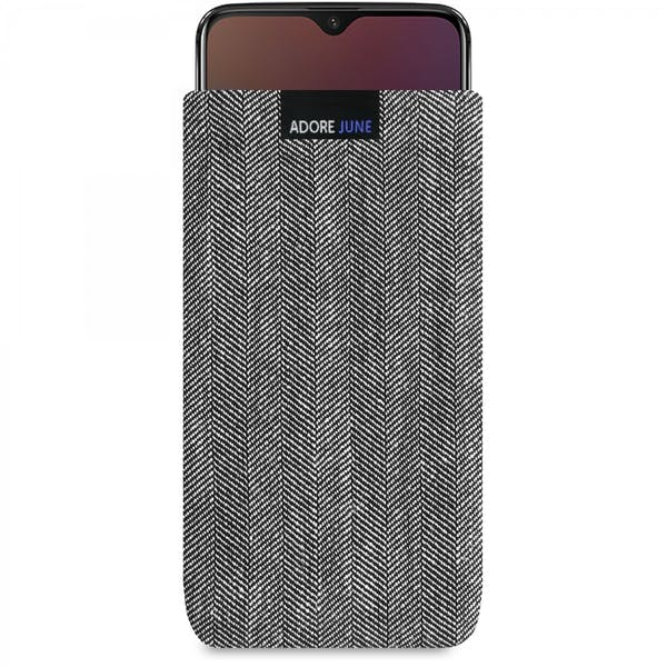 Das Bild zeigt die Vorderseite von Business Tasche für OnePlus 6T und OnePlus 7 in Farbe Grau / Schwarz; Zur Veranschaulichung wird ebenfalls dargestellt, wie das kompatible Gerät in dieser Tasche aussieht