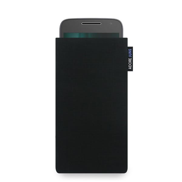 The picture shows the front of Classic Sleeve for Motorola Moto G5 and Moto G4 Play in color Black; As an illustration, it also shows what the compatible device looks like in this bag