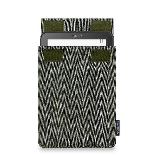 The picture shows the front of Business Sleeve for Tolino Vision 4 HD in color Grey / Black; As an illustration, it also shows what the compatible device looks like in this bag