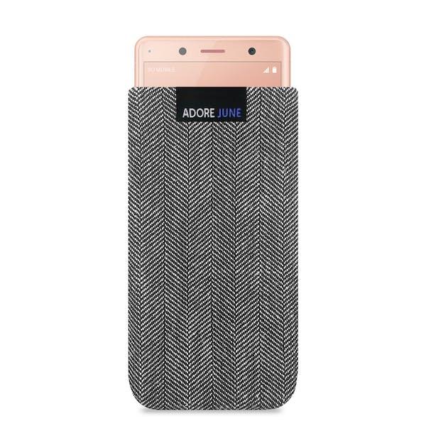Das Bild zeigt die Vorderseite von Business Tasche für Sony Xperia XZ2 Compact in Farbe Grau / Schwarz; Zur Veranschaulichung wird ebenfalls dargestellt, wie das kompatible Gerät in dieser Tasche aussieht