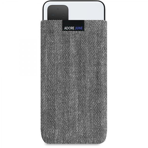 Das Bild zeigt die Vorderseite von Business Tasche für Google Pixel 4 XL in Farbe Grau / Schwarz; Zur Veranschaulichung wird ebenfalls dargestellt, wie das kompatible Gerät in dieser Tasche aussieht