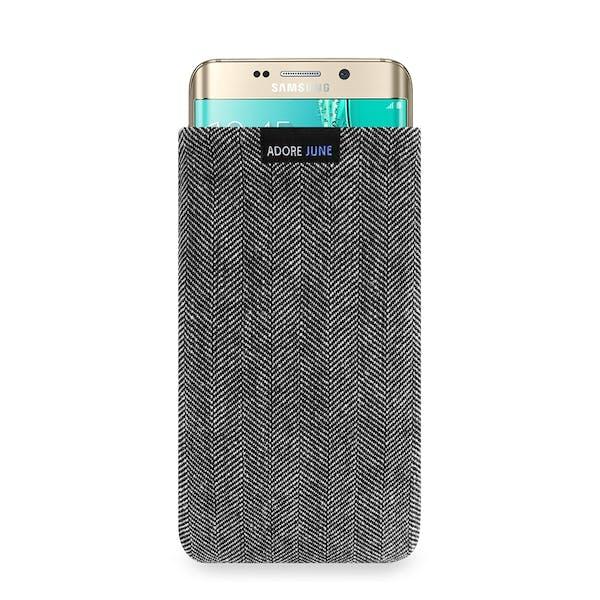 Das Bild zeigt die Vorderseite von Business Tasche für Samsung Galaxy S6 Edge Plus in Farbe Grau / Schwarz; Zur Veranschaulichung wird ebenfalls dargestellt, wie das kompatible Gerät in dieser Tasche aussieht
