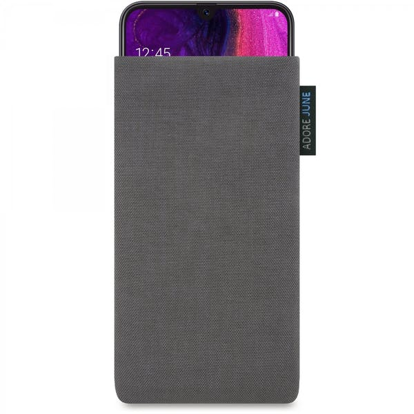 The picture shows the front of Classic Sleeve for Samsung Galaxy A50 in color Dark Grey; As an illustration, it also shows what the compatible device looks like in this bag