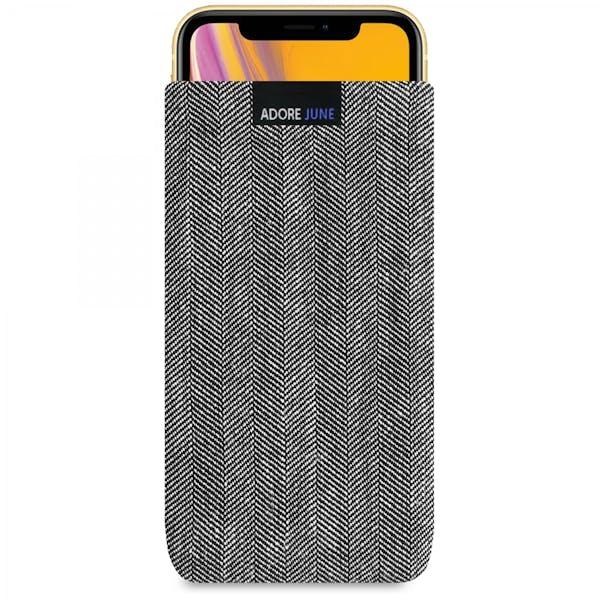 Das Bild zeigt die Vorderseite von Business Tasche für Apple iPhone XR in Farbe Grau / Schwarz; Zur Veranschaulichung wird ebenfalls dargestellt, wie das kompatible Gerät in dieser Tasche aussieht