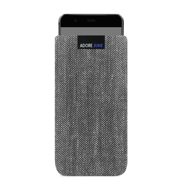 The picture shows the front of Business Sleeve for Huawei P10 in color Grey / Black; As an illustration, it also shows what the compatible device looks like in this bag