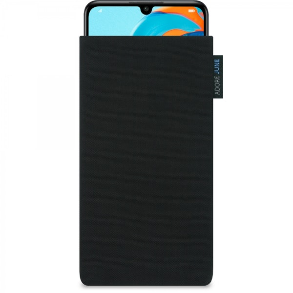 The picture shows the front of Classic Sleeve for Huawei P30 Lite in color Black; As an illustration, it also shows what the compatible device looks like in this bag